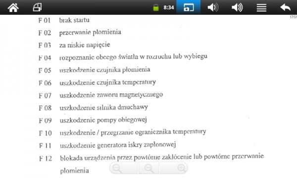 WEBASTO kody usterek